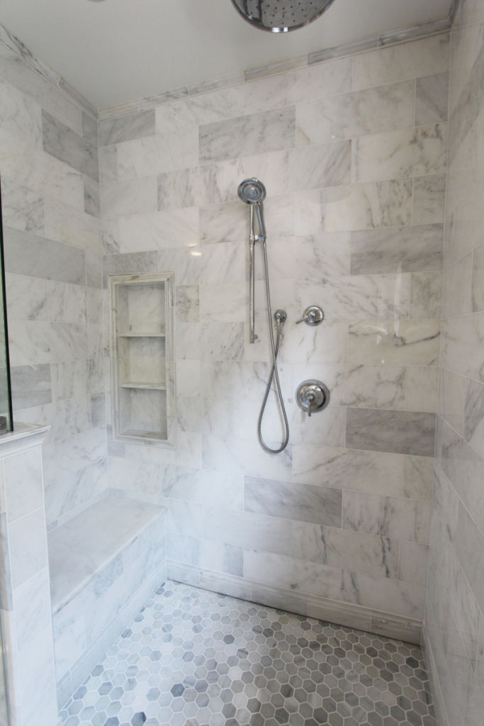 Custom Shower Bench And Shower Niche, 2 Shelves In Shower, Hidden Shower  Drain, Trench Drain In Shower, White Marble Hex Tiles, White Marble Tile ...